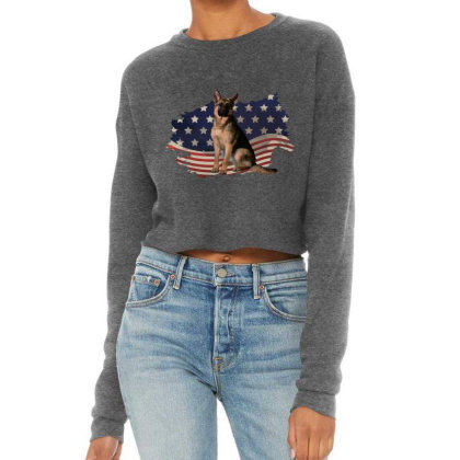German Shepherd Dog American Flag Usa Patriotic  4th Of July Gift Cropped Sweater Designed By Vip.pro123