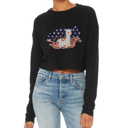 Llama American Flag Usa Patriotic  4th Of July Gift Cropped Sweater Designed By Vip.pro123