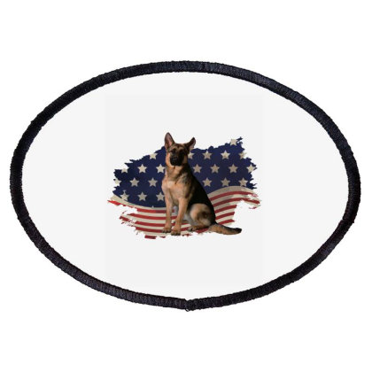 German Shepherd Dog American Flag Usa Patriotic  4th Of July Gift Oval Patch Designed By Vip.pro123