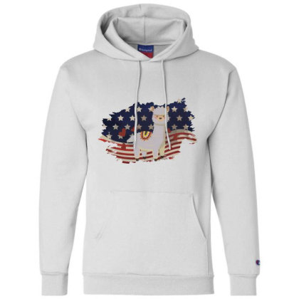 Llama American Flag Usa Patriotic  4th Of July Gift Champion Hoodie Designed By Vip.pro123