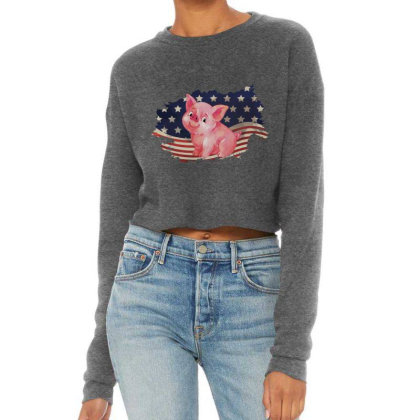 Pig American Flag Usa Patriotic  4th Of July Gift Cropped Sweater Designed By Vip.pro123