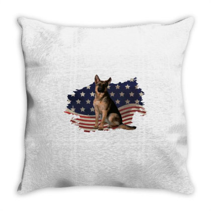 German Shepherd Dog American Flag Usa Patriotic  4th Of July Gift Throw Pillow Designed By Vip.pro123