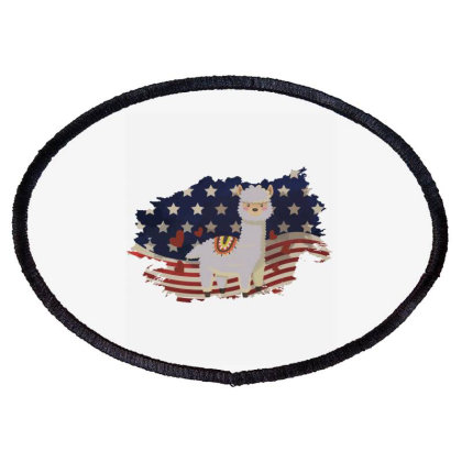 Llama American Flag Usa Patriotic  4th Of July Gift Oval Patch Designed By Vip.pro123
