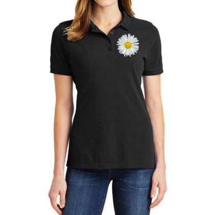 White And Yellow Heart Ladies Polo Shirt Designed By Kakashop