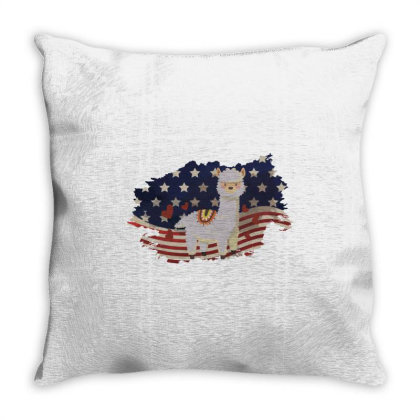 Llama American Flag Usa Patriotic  4th Of July Gift Throw Pillow Designed By Vip.pro123