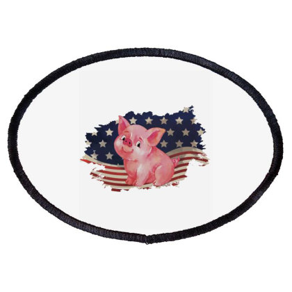 Pig American Flag Usa Patriotic  4th Of July Gift Oval Patch Designed By Vip.pro123