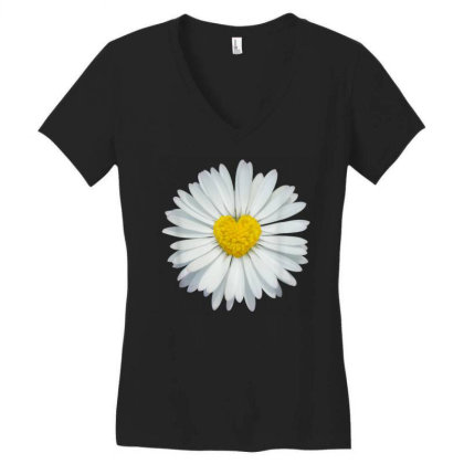 White And Yellow Heart Women's V-neck T-shirt Designed By Kakashop