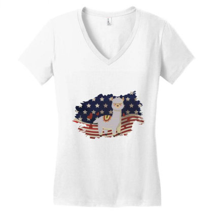 Llama American Flag Usa Patriotic  4th Of July Gift Women's V-neck T-shirt Designed By Vip.pro123
