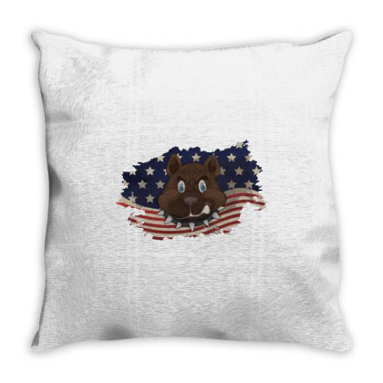 Pitbull American Flag Usa Patriotic  4th Of July Gift Throw Pillow Designed By Vip.pro123