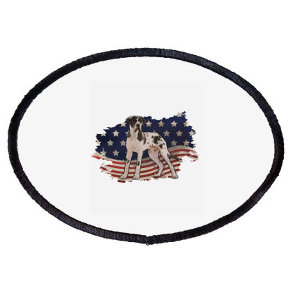 Pointer American Flag Usa Patriotic  4th Of July Gift Oval Patch Designed By Vip.pro123