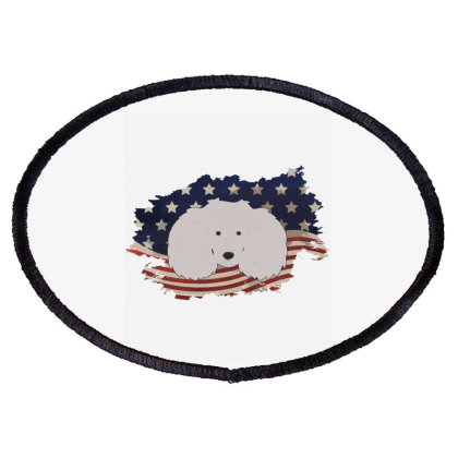 Poodle American Flag Usa Patriotic  4th Of July Gift Oval Patch Designed By Vip.pro123