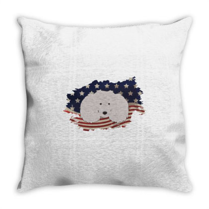 Poodle American Flag Usa Patriotic  4th Of July Gift Throw Pillow Designed By Vip.pro123