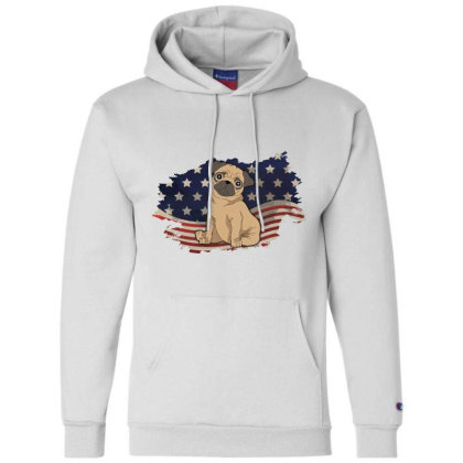 Pug American Flag Usa Patriotic  4th Of July Gift Champion Hoodie Designed By Vip.pro123