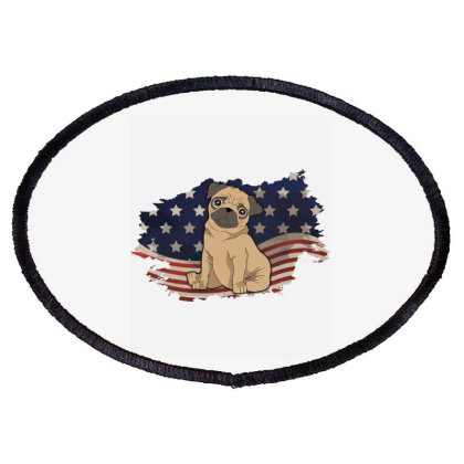 Pug American Flag Usa Patriotic  4th Of July Gift Oval Patch Designed By Vip.pro123