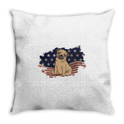 Pug American Flag Usa Patriotic  4th Of July Gift Throw Pillow Designed By Vip.pro123