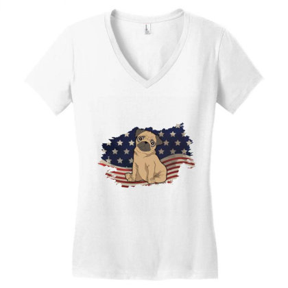 Pug American Flag Usa Patriotic  4th Of July Gift Women's V-neck T-shirt Designed By Vip.pro123