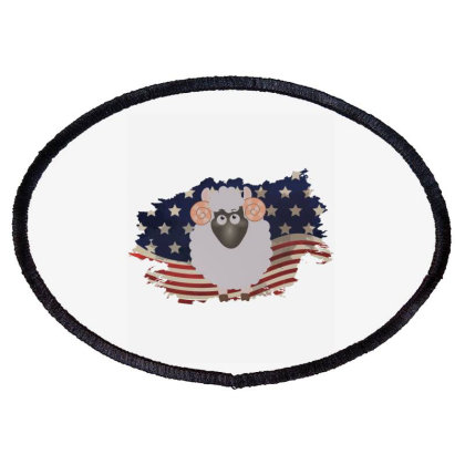 Sheep American Flag Usa Patriotic  4th Of July Gift Oval Patch Designed By Vip.pro123
