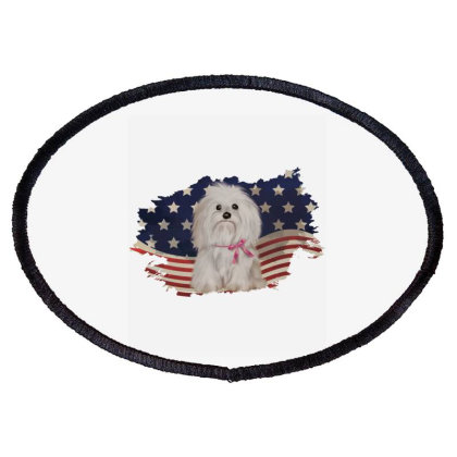Shih Tzu American Flag Usa Patriotic  4th Of July Gift Oval Patch Designed By Vip.pro123
