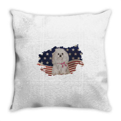 Shih Tzu American Flag Usa Patriotic  4th Of July Gift Throw Pillow Designed By Vip.pro123