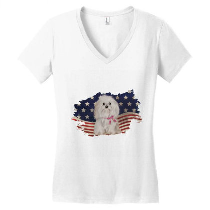 Shih Tzu American Flag Usa Patriotic  4th Of July Gift Women's V-neck T-shirt Designed By Vip.pro123