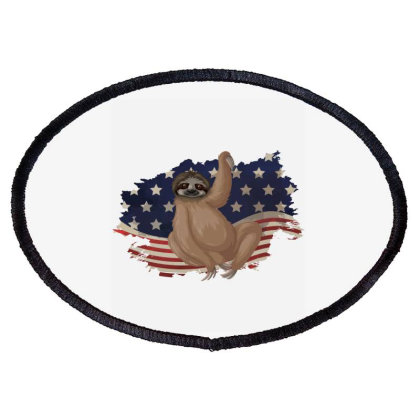Sloth American Flag Usa Patriotic  4th Of July Gift Oval Patch Designed By Vip.pro123
