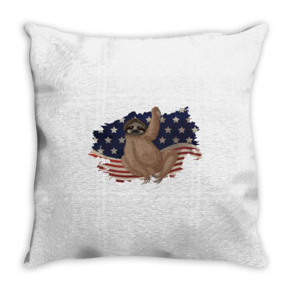 Sloth American Flag Usa Patriotic  4th Of July Gift Throw Pillow Designed By Vip.pro123