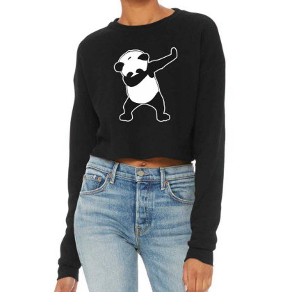 Panda Funny Dab Cropped Sweater Designed By Crystal_13