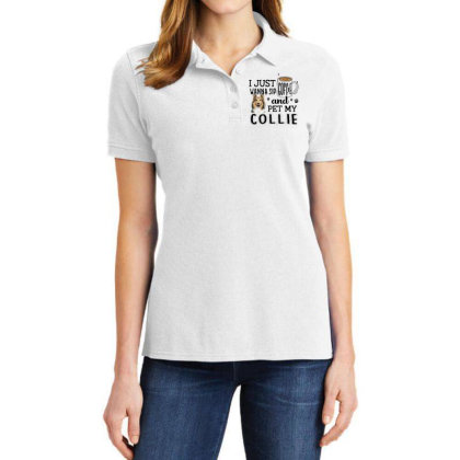 I Just Wanna Sip Coffee And Pet My Collie Ladies Polo Shirt Designed By Vip.pro123