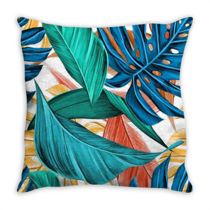Leaves Art Throw Pillow Designed By Chiks
