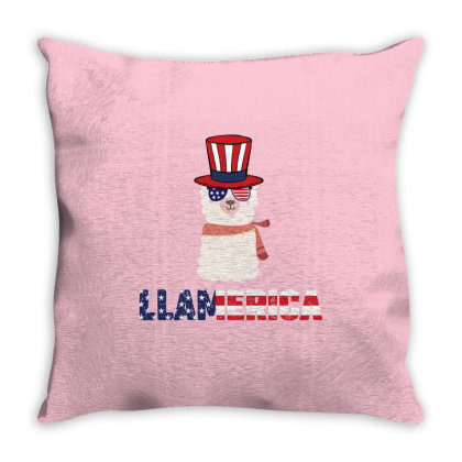 Llamerica Llama Merica  4th Of July Patriotic Usa American Flag Indepe Throw Pillow Designed By Vip.pro123