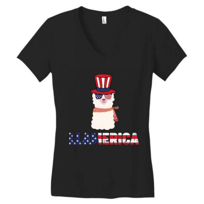 Llamerica Llama Merica  4th Of July Patriotic Usa American Flag Indepe Women's V-neck T-shirt Designed By Vip.pro123