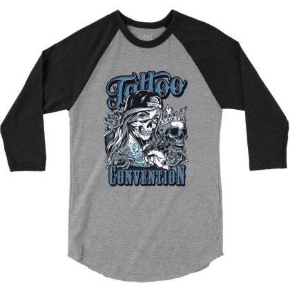 Tattoo Convention, Skull, Skeleton 3/4 Sleeve Shirt Designed By Estore