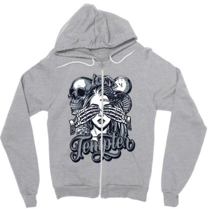 Skull, Skeleton, Girl, Rose Zipper Hoodie Designed By Estore