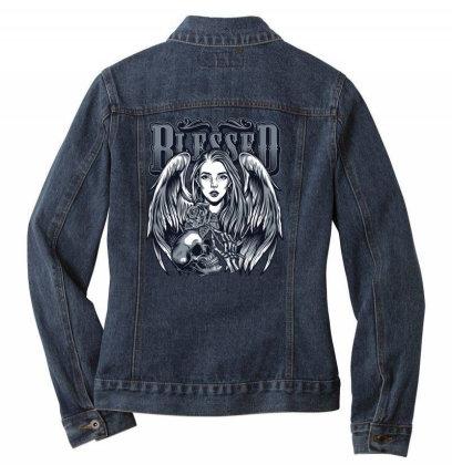 Blessed, Skull, Skeleton, Girl, Rose Ladies Denim Jacket Designed By Estore