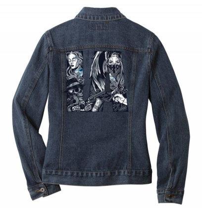 Skull, Skeleton, Girl, Rose, Pistol Ladies Denim Jacket Designed By Estore