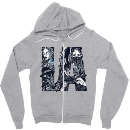 Skull, Skeleton, Girl, Rose, Pistol Zipper Hoodie Designed By Estore