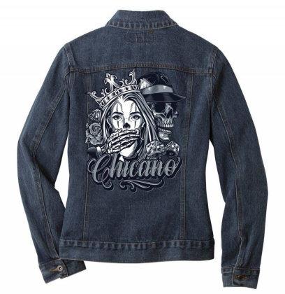 Skull, Skeleton, Girl, Rose Ladies Denim Jacket Designed By Estore