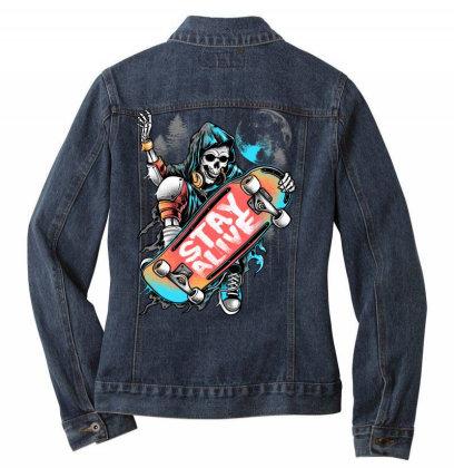 Stay Alive Ladies Denim Jacket Designed By Glitchygorilla