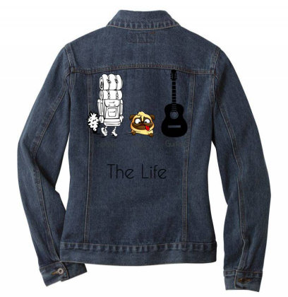 Hiking And Dog And Guitar - Funny Gift For Hiker Who Loves Dog And Gui Ladies Denim Jacket Designed By Cuser4067