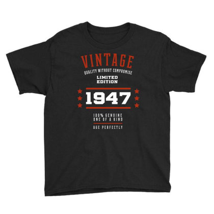 1947 Vintage Year - Aged To Perfection - 73th Birthday Gift Youth Tee Designed By Diogo Calheiros