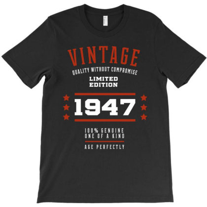 1947 Vintage Year - Aged To Perfection - 73th Birthday Gift T-shirt Designed By Diogo Calheiros