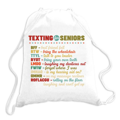 Texting For Seniors Retro Vintage Drawstring Bags Designed By Vip.pro123