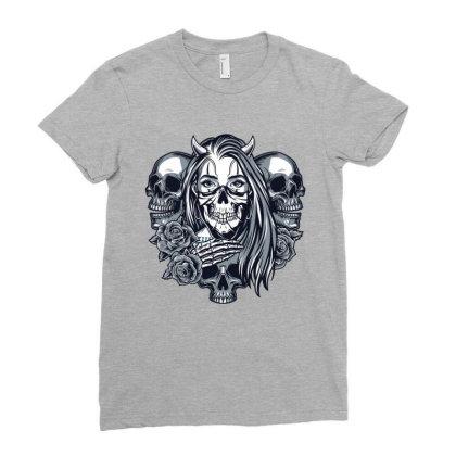 Skull, Skeleton, Girl, Rose Ladies Fitted T-shirt Designed By Estore