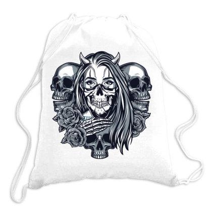 Skull, Skeleton, Girl, Rose Drawstring Bags Designed By Estore
