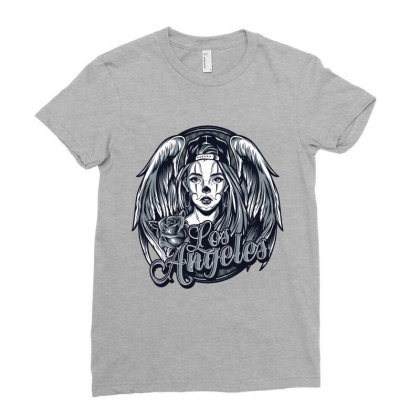 Los Angeles  California, America, Usa, Rose Ladies Fitted T-shirt Designed By Estore