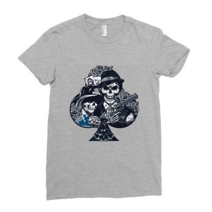 Skull, Skeleton, Rose, Pistol Ladies Fitted T-shirt Designed By Estore