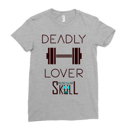 Deadly Dumbbell Lover 2 Ladies Fitted T-shirt Designed By .m.e.l.u.h.a. Fashion Store
