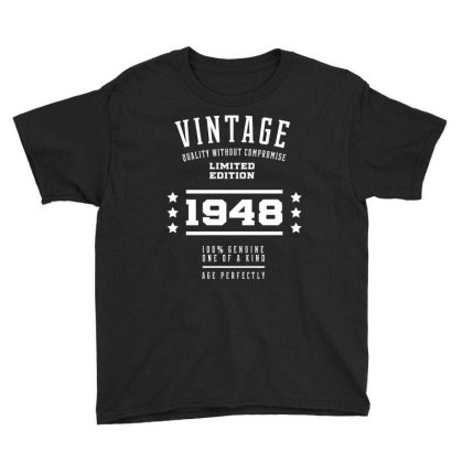 1948 Vintage Year - Aged To Perfection - 72th Birthday Gift Youth Tee Designed By Diogo Calheiros