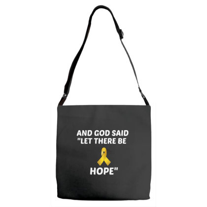 And God Said Let There Be Hope White Adjustable Strap Totes Designed By Perfect Designers