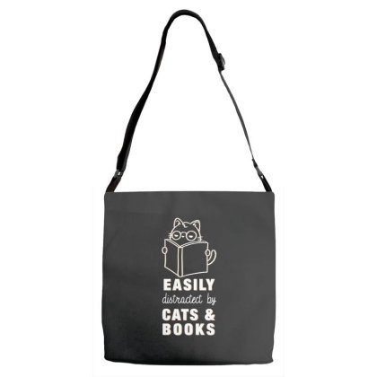 Easily Distractive By Cats & Books Adjustable Strap Totes Designed By Koalastudio